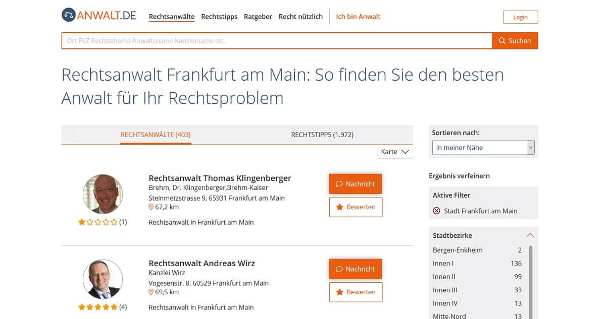 Suchmaschinenoptimierung für Anwälte www.anwalt.de