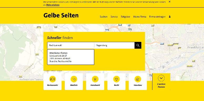 Suchmaschinenoptimierung für Anwälte Gelbe Seiten