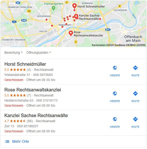 SEO für Anwälte Google My Business