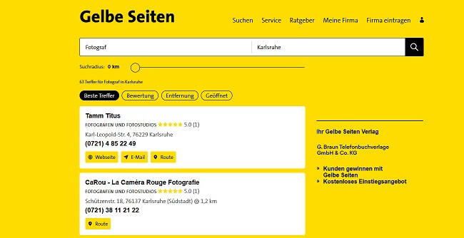 Suchmaschinenoptimierung für Fotografen Gelbe Seiten